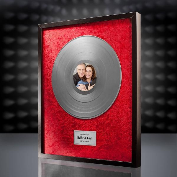 Silberne Schallplatte (Rot) mit eigenem Foto