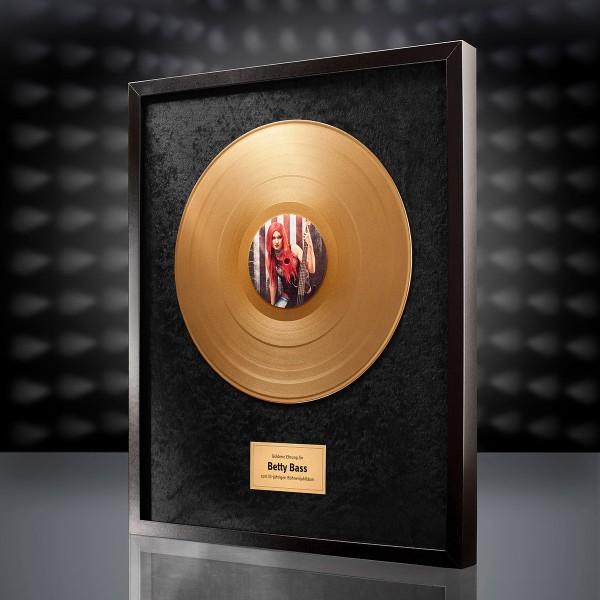 Goldene Schallplatte (Schwarz) mit eigenem Foto