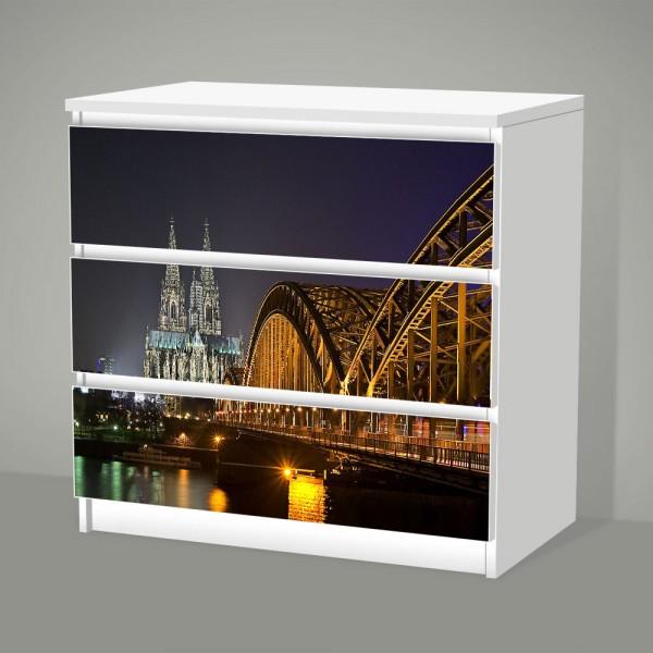 Köln bei Nacht (Möbelfolie für IKEA Malm - 3 Schubladen)