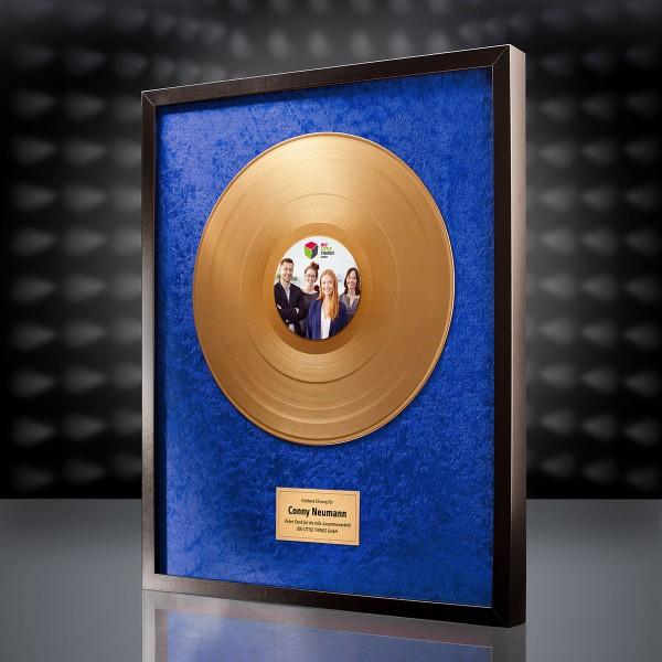 Goldene Schallplatte (Blau) mit eigenem Foto