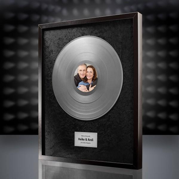 Silberne Schallplatte (Schwarz) mit eigenem Foto