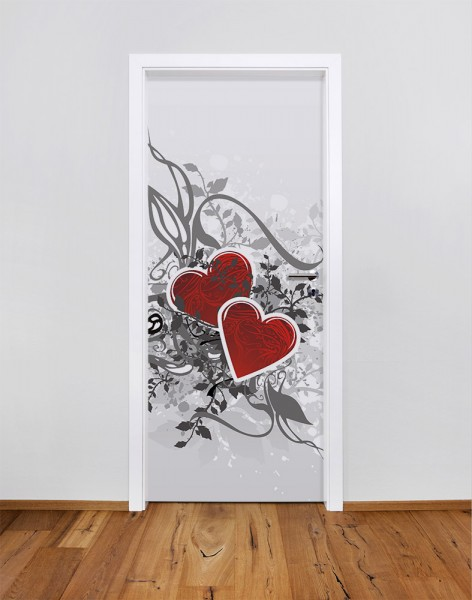 Retro Love - Herzen (Türfolie | Türposter)