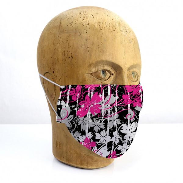 """Mund-Nasen-Maske """"Blumen pink"""""""