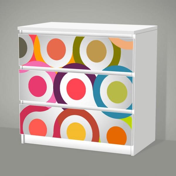 Retro Circle (Möbelfolie für IKEA Malm - 3 Schubladen)