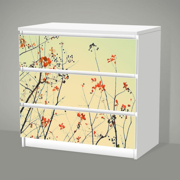 Asian Flowers (Möbelfolie für IKEA Malm - 3 Schubladen)