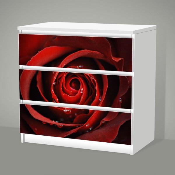 Red Rose (Möbelfolie für IKEA Malm - 3 Schubladen)